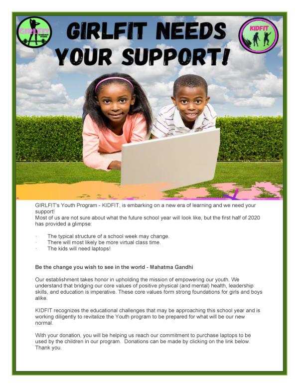 Kidfit Donation Flyer